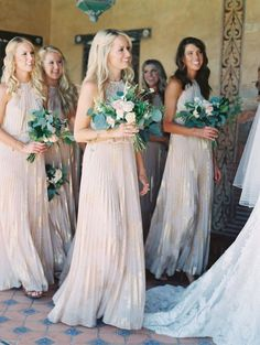 gold printed boho bridesmaid dresses