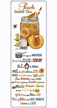 Peach iced tea visual recipe We treasure the recipe dish towel! Discover flour sack towels for every cook's decor and holidays. This one features an amazing recipe for refreshing Peach Iced Tea. Refreshing Drinks, Summer Drinks, Fun Drinks, Healthy Drinks, Beverages, Peach Ice Tea, Iced Tea Recipes, Sweet Tea, Dish Towels