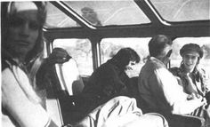 George Underwood (at rear) and David Bowie travelling on the Kansas - Los Angeles train (October 1972)