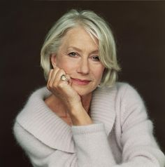 Helen Mirren PLUS: soft color + texture; MINUS: sleeves too wide, need to see if this collar works - is it too wide?