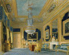 Carlton House: The Blue Velvet Room. Charles Wild. 1816