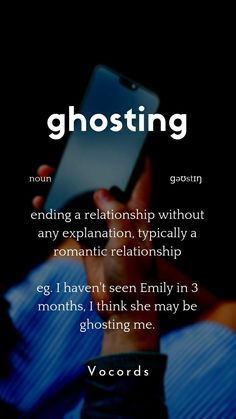 ending a relationship without any explanation, typically a romantic relationship eg. I haven't seen Emily in 3 months, I think she may be ghosting me. Advanced English Vocabulary, Learn English Grammar, English Writing Skills, Learn English Words, English Learning Spoken, English Language Learning, German Language, Japanese Language, Spanish Language