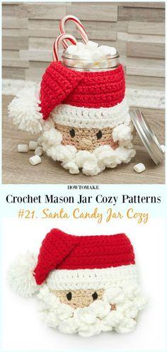 Crochet Mason Jar Cozy Free Patterns - Knitting crochet and amigurumi Christmas Candy Gifts, Crochet Christmas Gifts, Christmas Crochet Patterns, Holiday Crochet, Christmas Knitting, Diy Christmas Ornaments, Crochet Gifts, Crochet Santa, Free Crochet