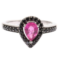 Sterling Silver Rubellite Black Spinel Drop Shaped Ring | 15.0% off