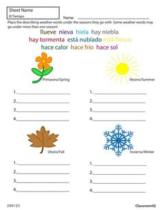 printable worksheet on the seasons in spanish with pictures to color school spanish. Black Bedroom Furniture Sets. Home Design Ideas