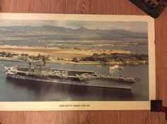 "Vintage poster USS KITTY HAWK CVA-63 near USS ARIZONA Memorial  22.5""x28"" 2"