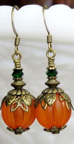 LOVELY FALL/AUTUMN INSPIRED PUMPKIN EARRINGS. Lucite and Swarovski Crystal earrings. BUY YOUR PAIR OF FABULOUS FALL PUMPKIN EARRINGS TODAY!