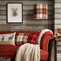 Cabin decor: rustic living room with red couch and tartan accessories