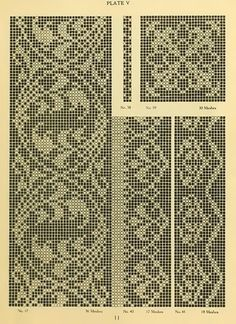 The new filet crochet book; original designs which may be used also for cross-stitch and beadwork, with patterns represented in a new way Graph Crochet, Filet Crochet Charts, Crochet Borders, Knitting Charts, Crochet Motif, Knitting Stitches, Knitting Yarn, Crochet Lace, Knitting Patterns