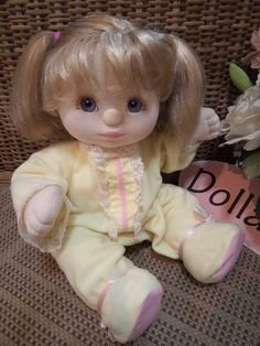"Mattel 1985 My Child Doll 14"" Blonde Hair Blue Gray Eyes Original Outfits #Mattel #Dolls"