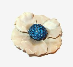 BSK Enamel Flower Brooch Paved Blue Rhinestone Center