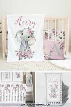 Beautiful baby girl nursery decor! Check out the full elephant crib bedding collection for your baby girl nursery. Woodland Nursery Boy, Baby Girl Nursery Decor, Nursery Wall Art, Nursery Ideas, Elephant Nursery Bedding, Baby Girl Crib Bedding, Crib Bedding Sets, Crib Wall, Kid Stuff