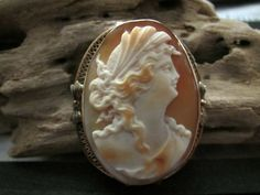 14k Cameo Brooch Pin Bow Motif by EverythingIOwn on Etsy, $225.00