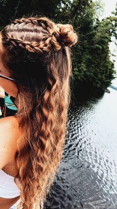 Pretty Braided Hairstyles, Cute Hairstyles For Teens, Teen Hairstyles, Summer Hairstyles, Hair Inspo, Hair Inspiration, Aesthetic Hair, School Hair, Beach Hair