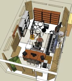 sketchup studio- just research on typical sound studios