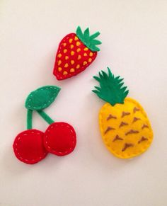 Kawaii felt fruit magnets by lovelylittlecrafts74 on Etsy