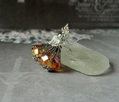 Juicy Tangerine Earrings Orange Crystal Earrings by MsBsDesigns