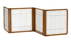 "The Richell Convertible Elite H4 Panel Pet Gate is nearly identical to, and shares many of great features of the Richell Elite 4 Panel Pet Gate, but the H4 is a slightly taller gate measuring 35.8"" tall, and it features different span width dimension. When this gate is used as a zig-zag room barrier configuration, this freestanding gate can span up to 91.7"" wide maximum. When used as a linear gate, each end panel would be set at 90 degrees, and could span up to 68.7"" wide. When this gate is…"