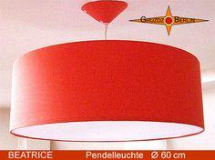 Loungeleuchte BEATRICE Ø 60 cm, Pendellampe mit Diffusor und Baldachin, orange. Ein sonniges Orange bringt wunderbare Entspannung ... .