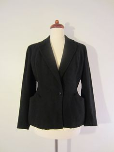 Black Fitted Jacket w/ Shoulder Pads and Distinguished Waistline Cut, S-M Office Chic, Shoulder Pads, Bombshells, Malta, Finland, Wool Blend, Button Up, Im Not Perfect, Pin Up