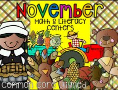 November, Thanksgiving themed Math and Literacy Centers.