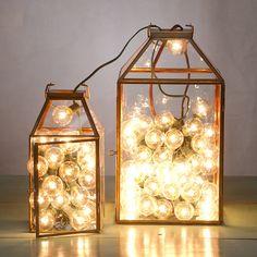 Brass Frame Lantern in House + Home Lighting at Terrain