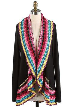 The Texas Cowgirl - Multi Color Black Crochet Cardigan Sweater ...