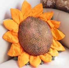 Handmade cloth sunflower pillow core containing by NationalWinds