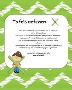 Leuke werkbladen om de tafels te oefenen - groep 4/5 jufanke.nl School Hacks, School Projects, Fun Learning, Teaching Kids, Experiment, School Info, Numbers For Kids, School 2017, Homeschool Math