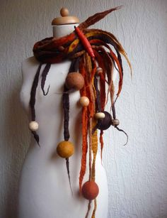Custom made, felted wool necklace, lariat, belt ,scarf, handmade, felt, quirky and unusual spiky necklace, lagenlook, made to order. £50.00, via Etsy.