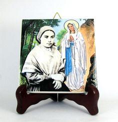 Piastrelle & Mattonelle - St Bernadette Soubirous icona ceramica cattolica - un prodotto unico di terrytiles2014 su DaWanda