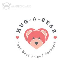 Cute bear in the shape of multiple hearts waiting for your love, perfect for your business!  This design is a pre-made, non-exclusive | Logo, Graphic Design, Bear, Heart, Cute, Whimsical, Smile, Teddy, Hug, Friend