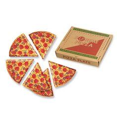 Supreme Pizza Slice Melamine Plates in Box | Italian | College | Food Theme Party Decorations