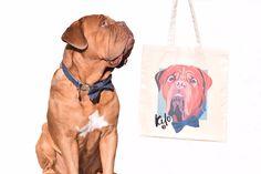 Custom canvas pet tote bag with dogue de bordeaux