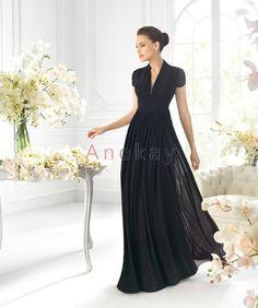 V Ausschnitt Chiffon Schwarze Abendkleider mit Ärmeln PSL1305371