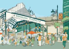 """London local"" prints - Southwark - A series of London Borough illustrations by Jack Noel"