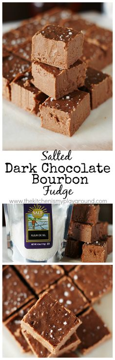 Salted Dark Chocolate Bourbon Fudge ~ a little bite of chocolate-bourbon heaven.   www.thekitchenismyplayground.com