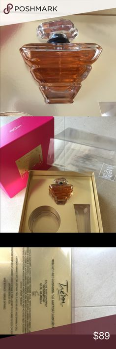 Lancôme Trésor EDP 3.4 oz (100ml) with BONUS! ❤️ This beautiful bottle of Trésor perfume spray is part of Lancôme's gift set. The perfume is brand new & never sprayed.    Retail: $106 + tax.  NO BOX! FREE BONUS TODAY: 2.5 fl oz and 1.7 fl oz travel size Tresor shower gel.   Brand new! Yes! 😍 🌺 Notes ❤️ Top Notes: Apricot Blossom, Rose Heart Notes: Lilac, Iris, Peach Base Notes: Amber, Sandalwood, Musk, Vanilla. ❗️price is firm. ❗️ Lancome Other