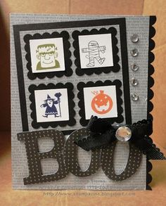handmade Halloween card ... gray and black ... inchie four square grid with stamped ikons ... huge die cut BOO ... luv it! ... Stampin'Up!
