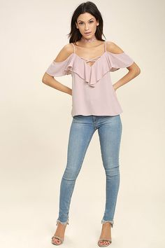 Sing It Now Blush Pink Off-the-Shoulder Top 2
