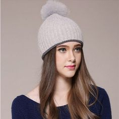 Large rabbit fur ball knit beanie hat for girls double warm winter hats