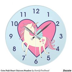Cute Pink Heart Unicorn Number Large Clock