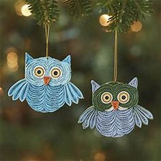 Christmas Ornaments - Quilled Owl Ornament Set