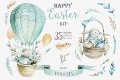 Happy easter with bunnies I example