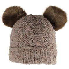 Barts Womens Taupe Pom Pom Ears Beanie Hat ($33) ❤ liked on Polyvore featuring accessories, hats, beanies, gorros, barts hats, fleece lined beanie, pompom hat, fleece lined beanie hat and lined beanie