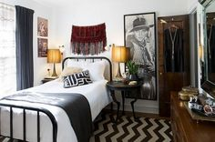 Bedroom: Simple Bedroom Design Ideas With Single Iron Bed Frames Also Chevron Rugs And Teak Wood Cabinet And Bedside Nightstand With Vintage Table Lamp: Inspiration on how to Decorate an Exquisite Eclectic Bedroom
