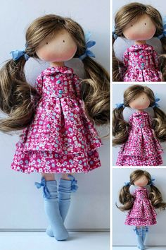 Poupée Art Doll Soft Doll Rag doll Tilda Doll Fabric Doll Muñecas Red Doll Cloth Doll Handmade Doll Textile Doll Interior Doll by Olesya _____________________________________________________________________________________   Hello, dear visitors!  This is handmade textile doll created by Master Olesya N. (Russia). All dolls stated on the photo are mady by artist Olesya N. You can find them in our shop searching by artist name: https://www.etsy.com/shop/AnnKirillartPlace?re... Red Dolls, Pink Doll, Fabric Dolls, Fabric Art, Hello Dear, Knitted Dolls, Soft Dolls, Smocking, Baby Dolls