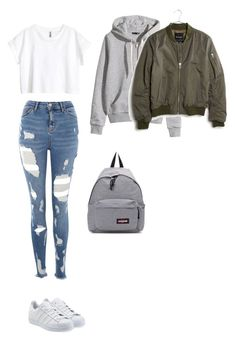 """""""Untitled #486"""" by ericanunes ❤ liked on Polyvore featuring Topshop, H&M, Madewell, adidas Originals and Eastpak"""