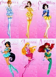 Disney princesses in Sailor Moon style.