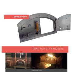 Double Pizza Oven Door Stainless steel finishes Arch included Air vent Thermometer ready Door handles: Black High Heat Resistant Indoor Pizza Oven, Diy Pizza Oven, Pizza Ovens, Brick Grill, Brick Oven Outdoor, Wood Fired Oven, Wood Fired Pizza, Pizza Oven Fireplace, Stone Pizza Oven